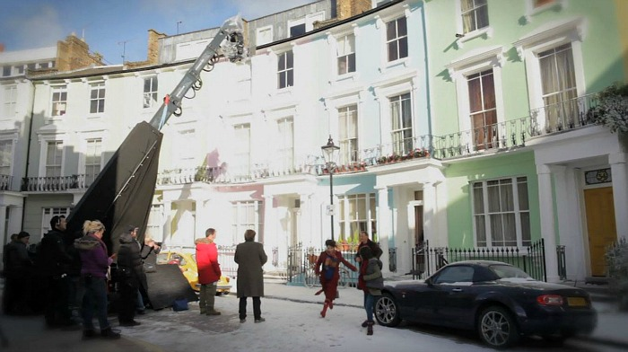 shooting scene from Paddington Bear movie in the street