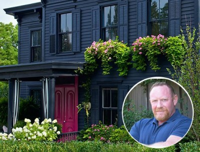 Designer Roger Hazard's Black Victorian with a Pink Door