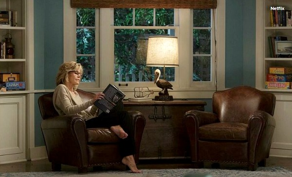 Jane Fonda reading a book