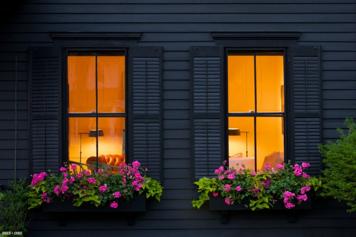 window boxes filled with pink flowers