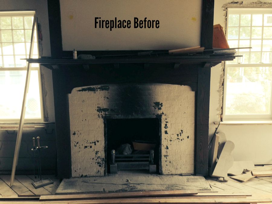 Allenhurst American Foursquare Fireplace BEFORE Remodel
