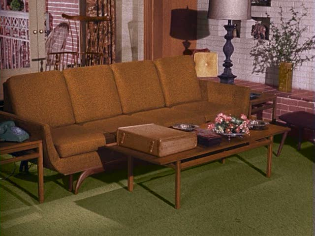 Bewitched TV sitcom sets living room season one