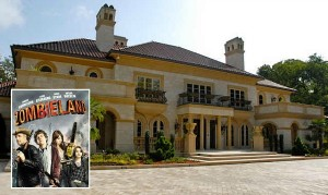 Bill Murray's house in the movie Zombieland with movie poster inset