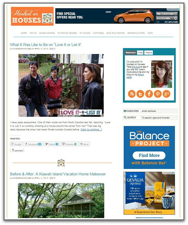 Front page Hooked on Houses blog 2015 before upgrade