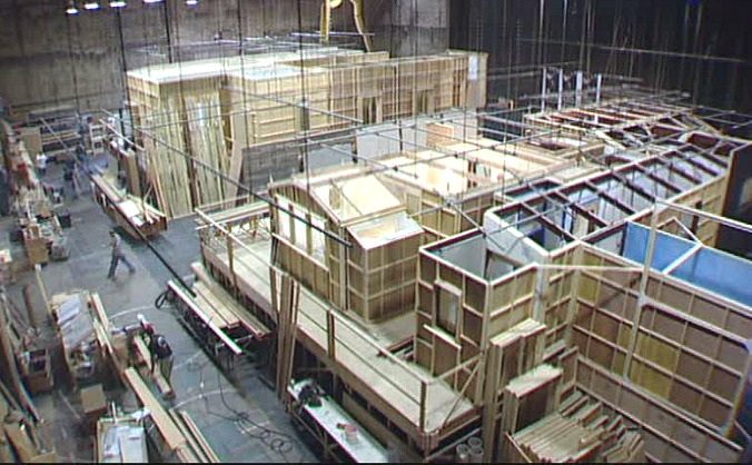 """Production photo of sets being built on a soundstage for the movie """"Monster-in-Law"""""""