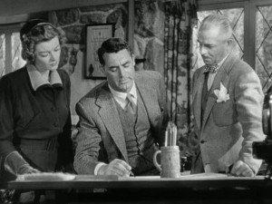 Cary Grant and Myrna Loy meet with architect in Mr. Blandings Dream House