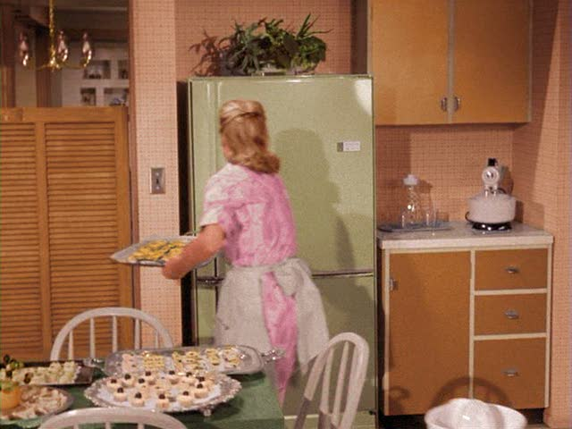 Samantha's 1960s kitchen with avocado refrigerator on Bewitched