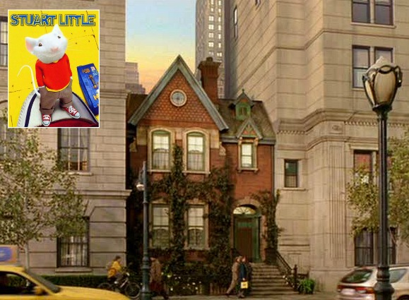 "exterior of the tiny house between two tall buildings in ""Stuart Little"""