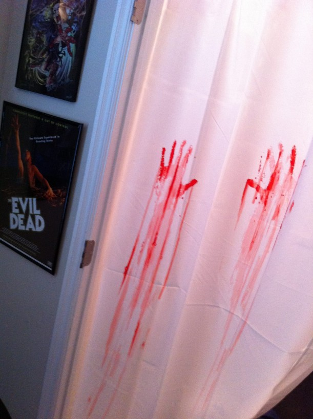 bloody handprints on shower curtain