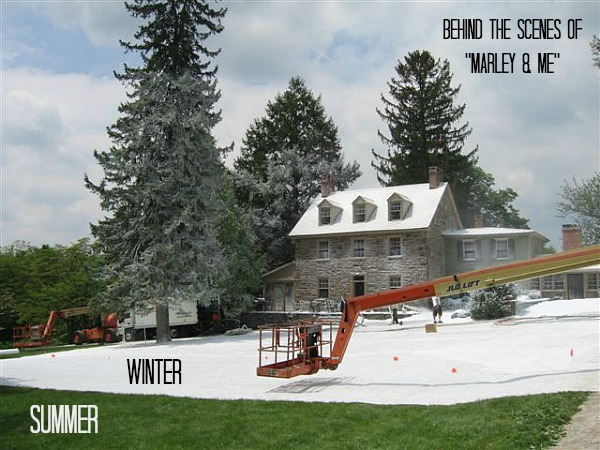 "creating winter on the set of ""Marley and Me"" movie"