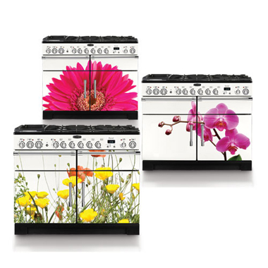 colorful oven ranges with flowers painted on them