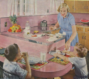 retro pink kitchen from 1950s