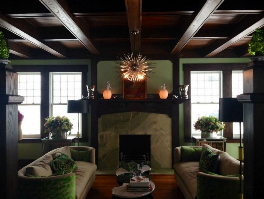 newly restored fireplace in American Foursquare house
