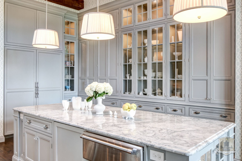 kitchen cabinets with glass doors for display