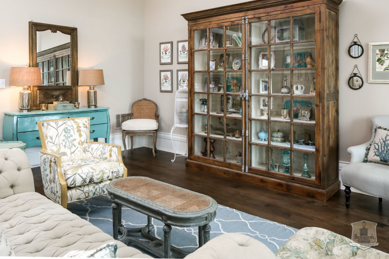 curio cabinet in living room