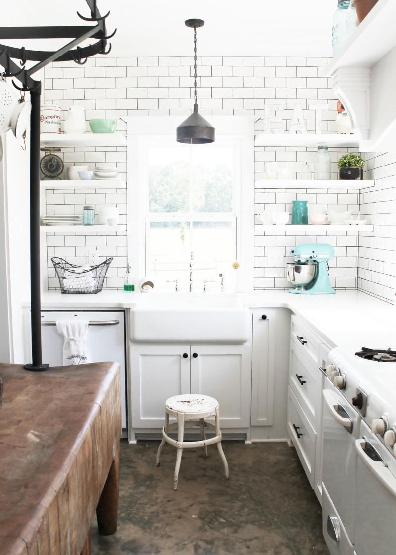 White kitchen with subway tile in farmhouse