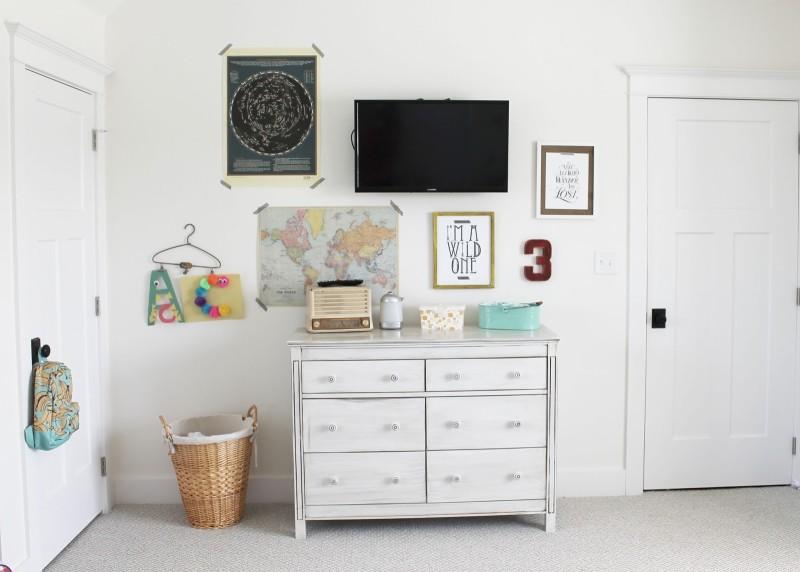 Dresser and artwork in boy\'s room