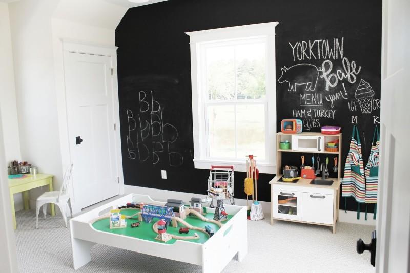 Playroom with black walls and train set