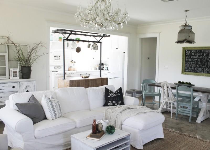 white slipcovered Ektorp sofa in living room