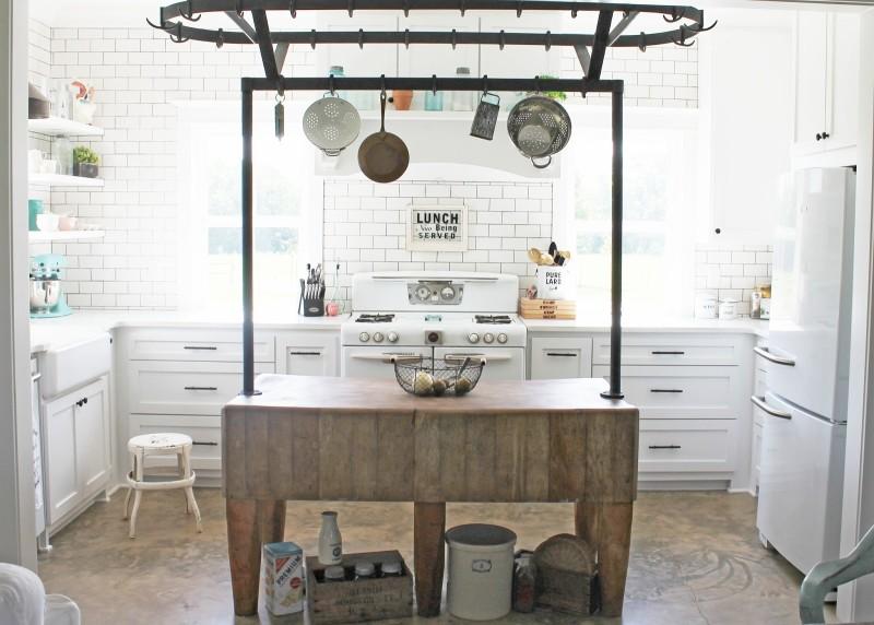 Kitchen island with pot rack