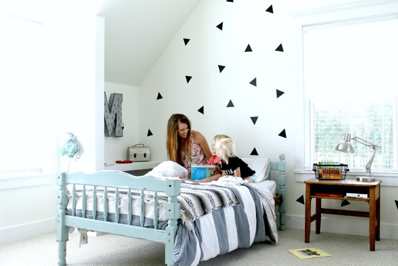 Brittany York and her son in son\'s bedroom