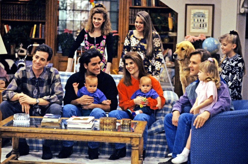 Full House cast production photo living room set