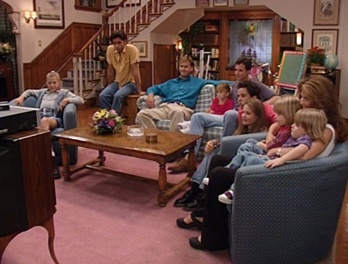 cast of Full House watching TV in Tanner living rm