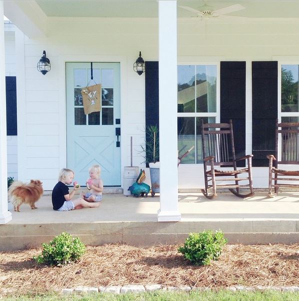 Front porch of a Sugarberry Cottage Farmhouse