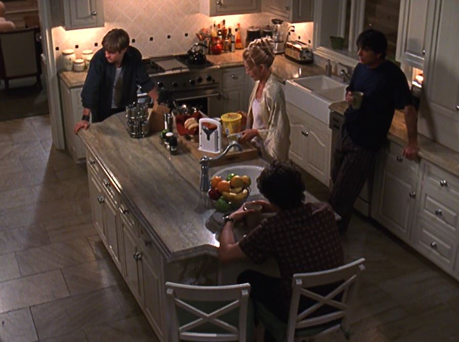 Overhead view of the Cohen family\'s kitchen island
