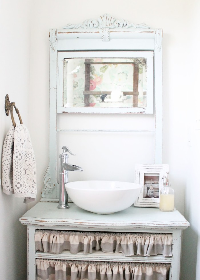 powder room with anthropologie floral wallpaper