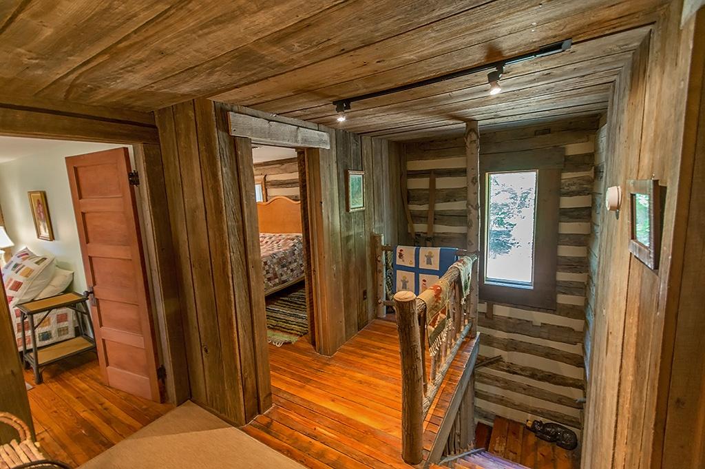 upstairs landing of log home