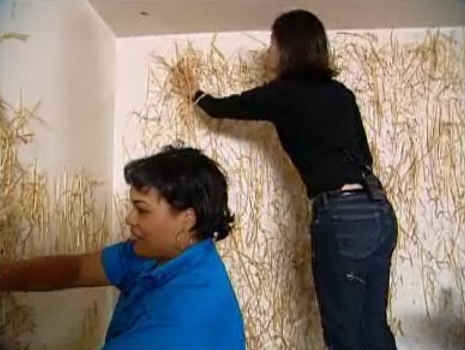 Screenshot of Hildi putting straw on the walls of a house in Trading Spaces