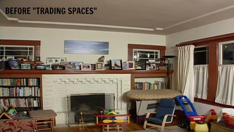 TRADING SPACES fireplace wall in hay house before