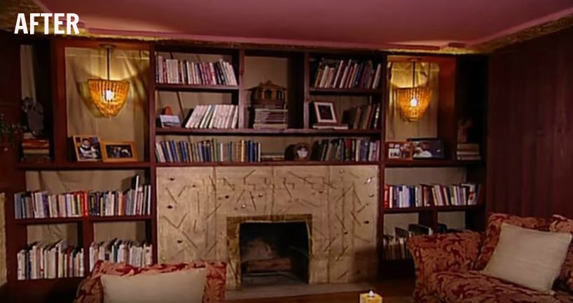 TRADING SPACES fireplace wall in hay house after
