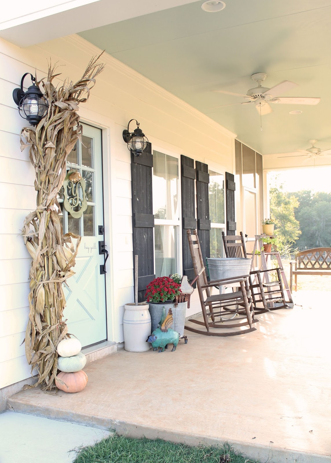 front porch sugarberry cottage decorated for fall