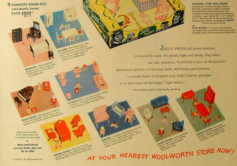 Vintage Woolworth's Ad for Playsteel Tin Dollhouse Furniture 1948 - I Couldn't Resist This Vintage Colonial Dollhouse From The '40s