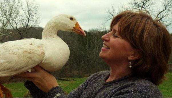 Connie Cunningham on her goose farm in Missouri