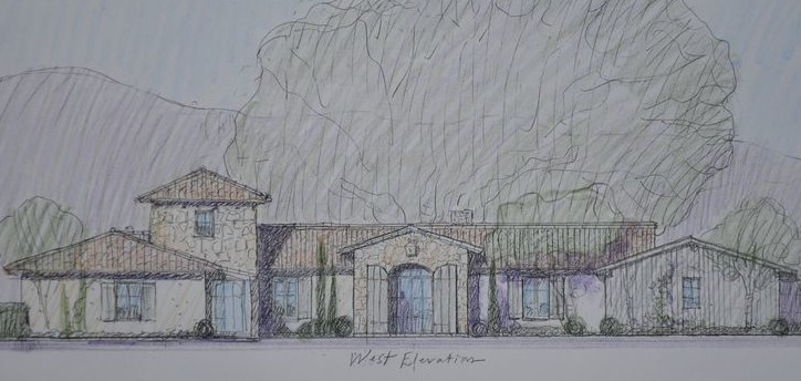 Steve Giannetti's original sketch of Patina Farm exterior