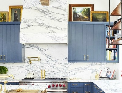 Arabiscato Marble in Brooklyn Decker Kitchen Closeup