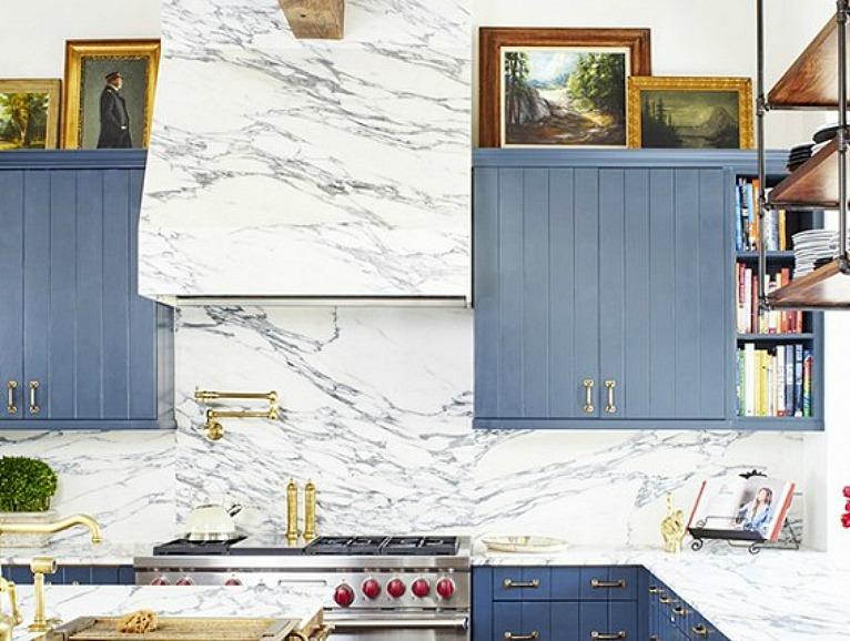 Arabiscato Marble in Brooklyn Decker Kitchen Closeup