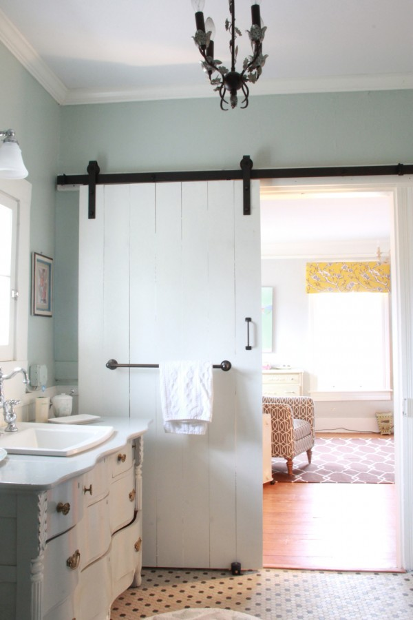 Bathroom with barn doors