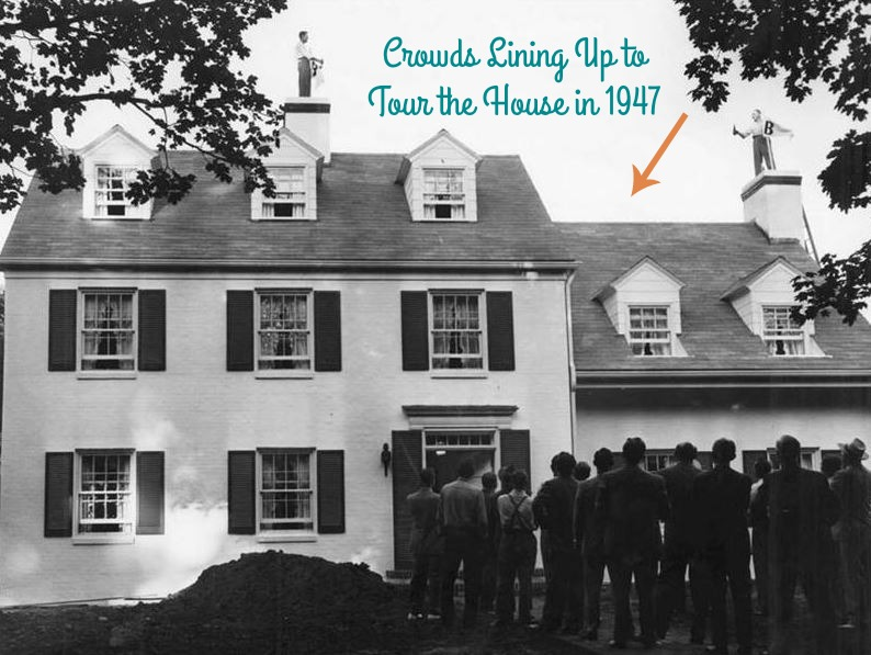 crowds lining up to see replica of mr. blandings dream house 1947