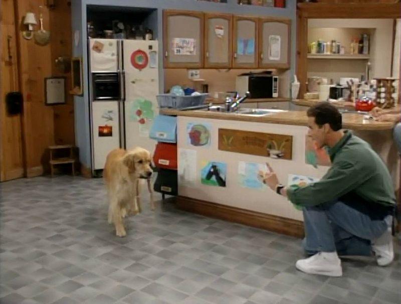 Bob Saget and Comet in Tanner kitchen