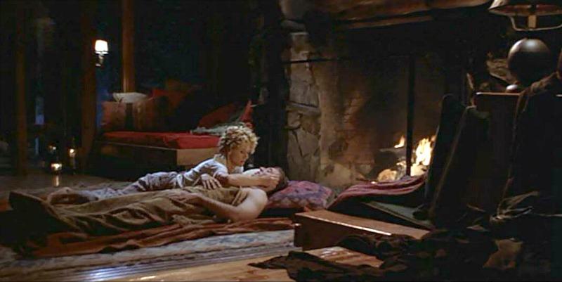 Fireplace in cabin