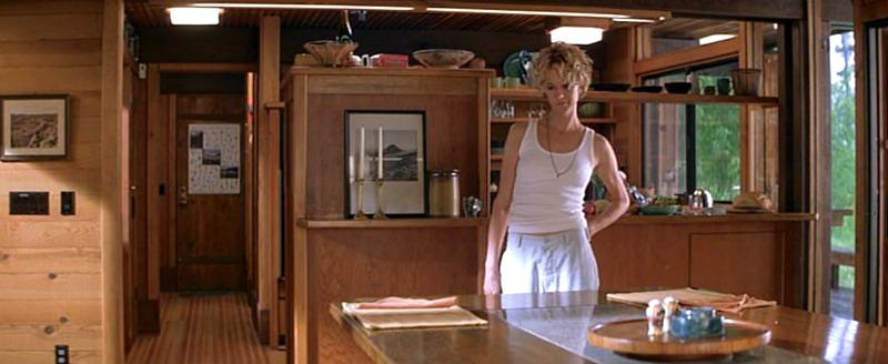 Meg Ryan in the cabin dining area