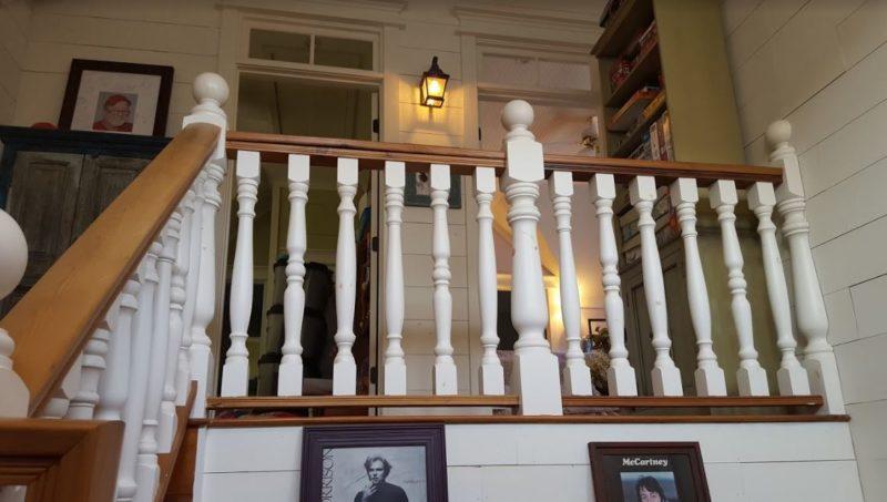 Stair railing on upstairs landing of farmhouse