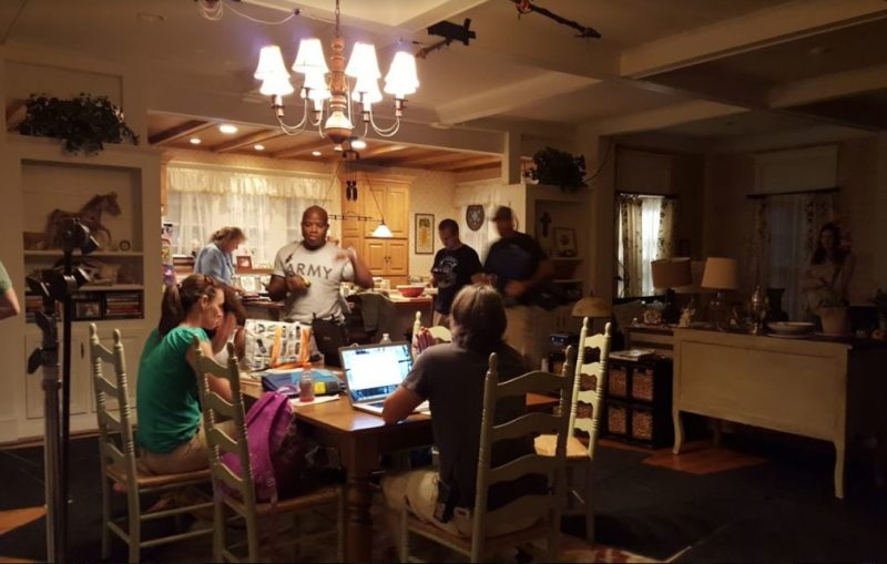 Behind the scenes filming Miracles from Heaven in farmhouse kitchen
