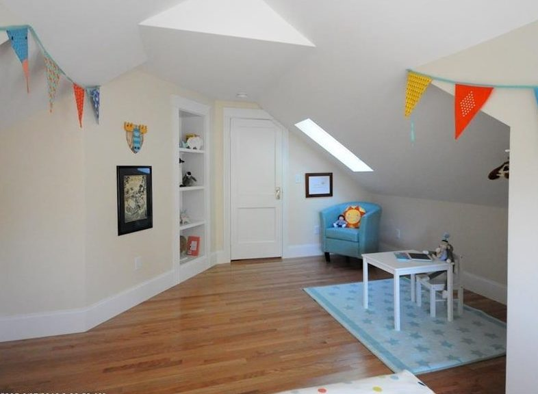 Finished bedroom in former attic space