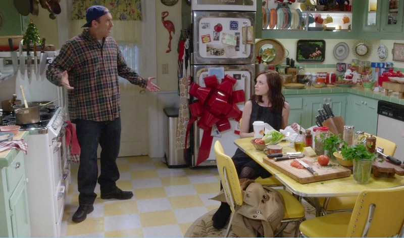 Luke and Rory talking in the kitchen