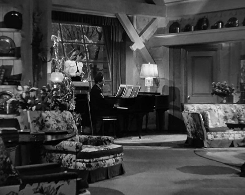 Piano in the farmhouse living room